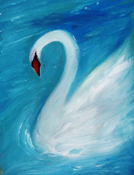 White Swan Painting Art Print