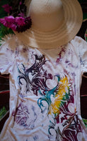 Abstract Butterfly White T-shirt Colorful 1