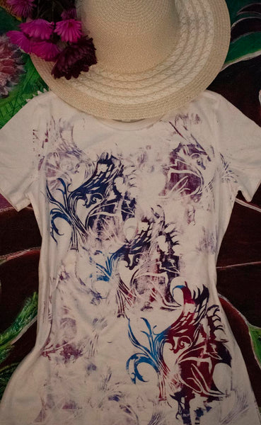 Abstract Butterfly White Blend T-Shirt Colorful 2