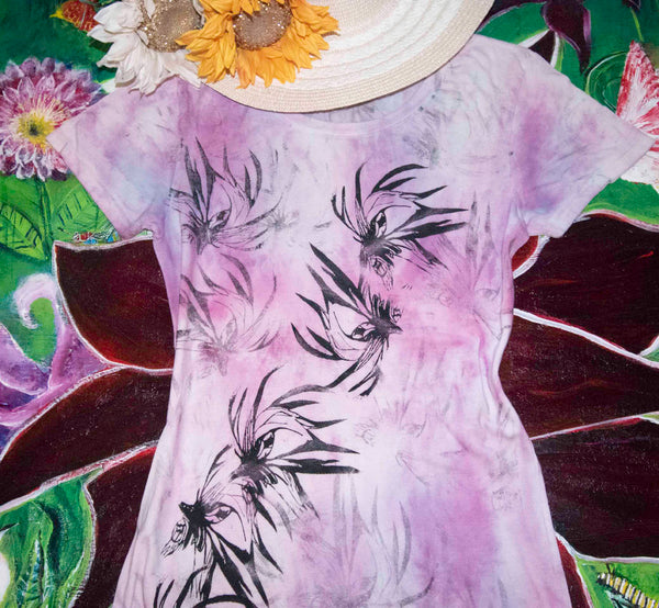 Night Bloom Pink White Hand Dyed Large TShirt