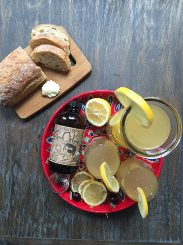 Summer afternoon refreshment at its best: Fire Cider Lemonade with Berkshire Mountain Bakery ciabatta and butter.