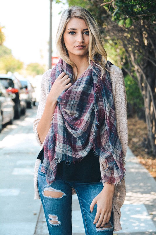 BK Brand Faded Plaid Scarf