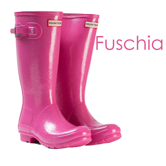 Hunter Original Kids Glitter Finish Rain Boots (Sizes 1-13, Many Colours Available)