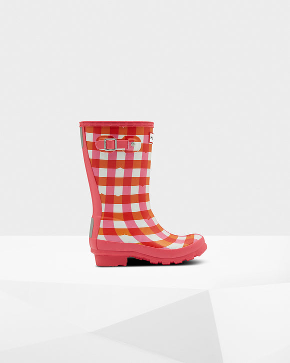 Hunter Original Kids Gingham Rain Boots: Arcade Pink