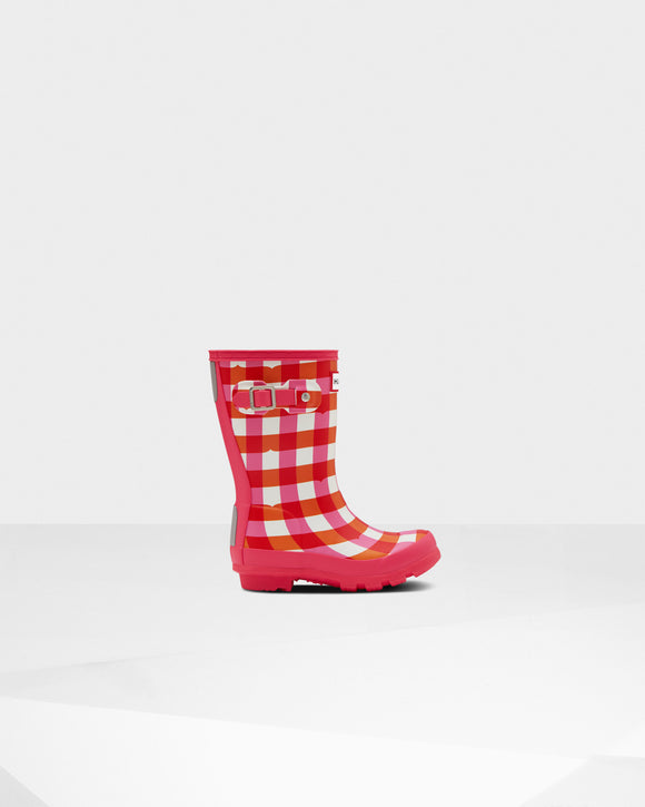 Hunter Original Little Kids Gingham Print Rain Boots: Arcade Pink