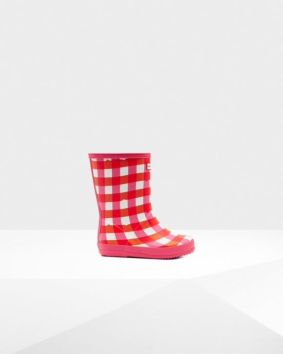 Hunter Original Kids First Classic Gingham Print Rain Boots: Arcade Pink