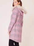 BB Dakota Houndstooth Plaid Hooded Coat