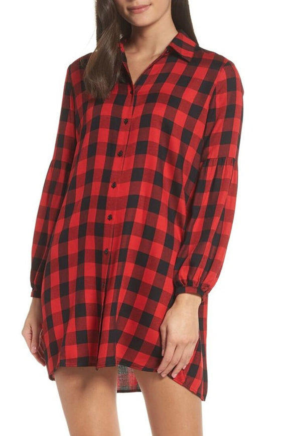 BB Dakota Red Plaid Shirt Dress
