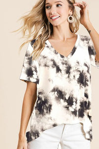 BK Brand Black Tie Dye Top