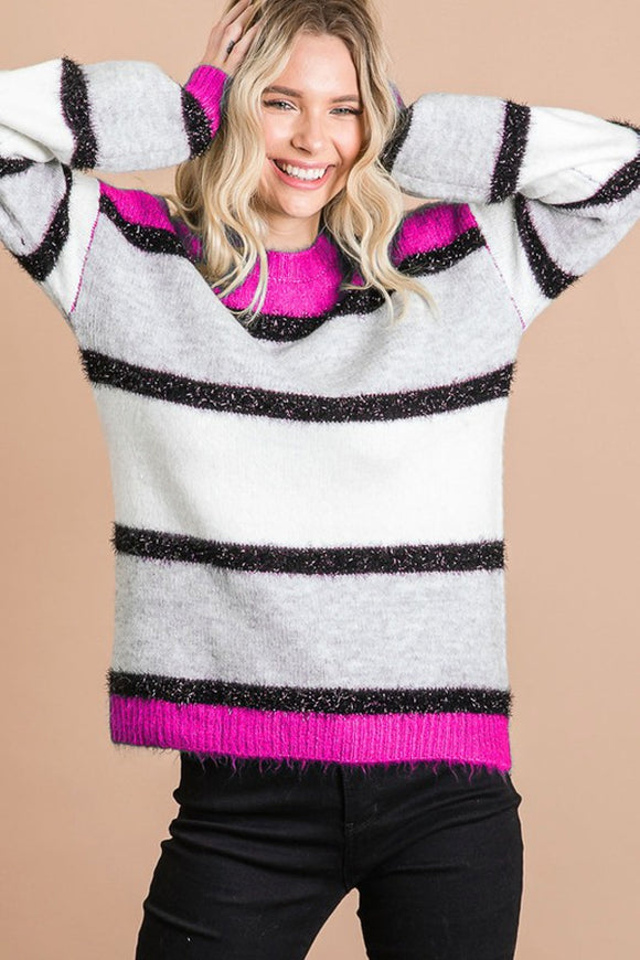 BK Brand Hot Pink Pinstripe Top