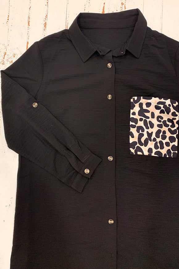 BK Brand Leopard Pocket Shirt Dress
