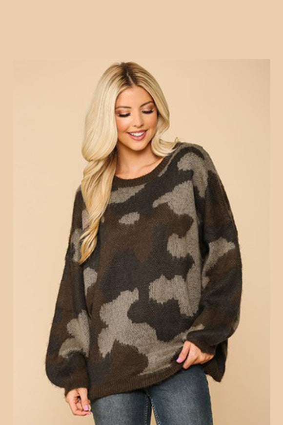 BK Brand Neutral Camo Sweater