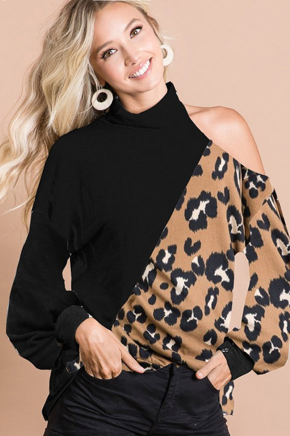 BK Brand Leopard Open Shoulder Top