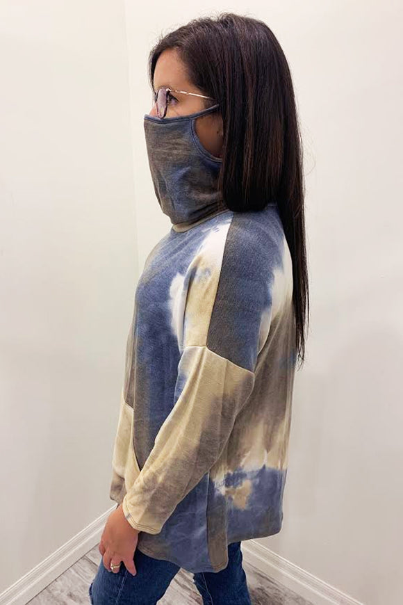 BK Brand Tie Dye Sweater with Built-in Face Mask