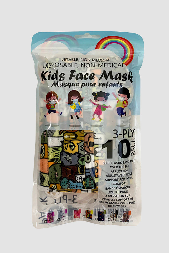 BK Brand Kids 10 Pack Mixed Pattern Disposable Masks