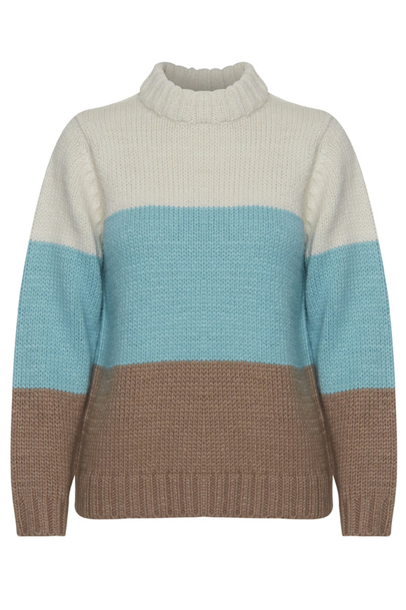 B Young Teal & Tan Knitted Sweater