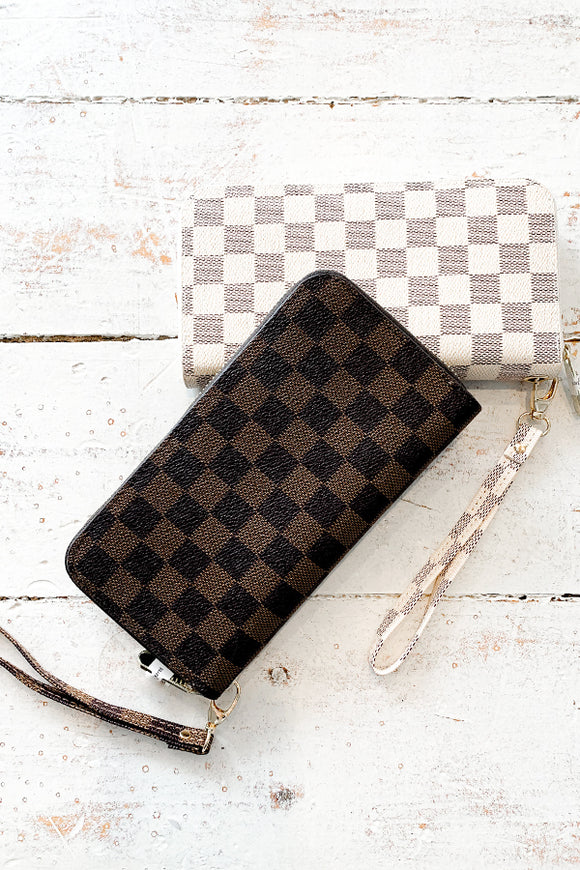 BK Brand Checkered Wallet