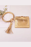 BK Brand Bangle Wristlet Wallet with Tassel