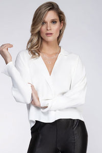 Black Tape Long Sleeve Flutter Blouse
