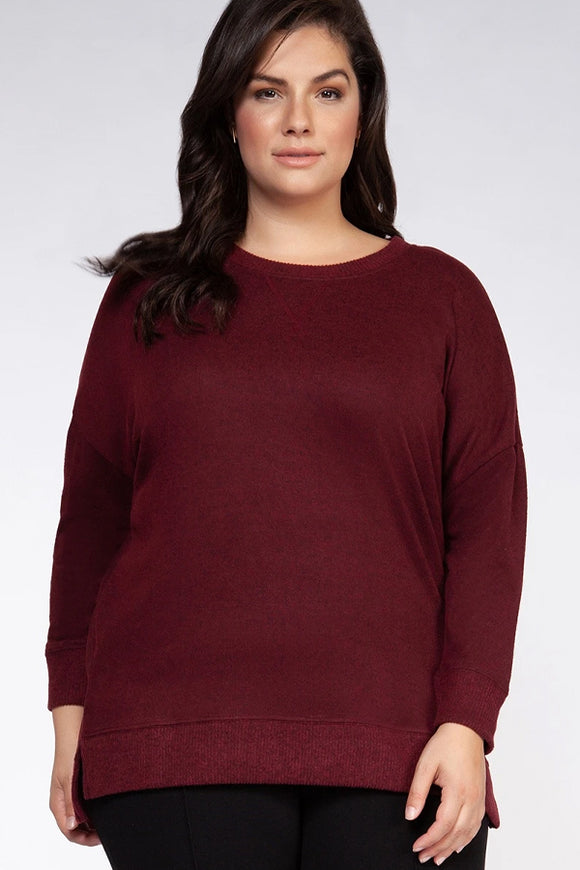 Dex Plus Crewneck High Low Sweater