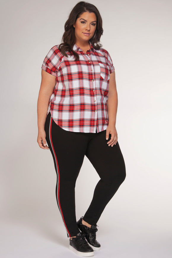 Dex Plus Short Sleeve Plaid Blouse