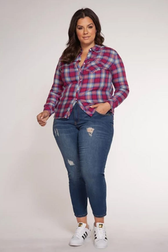 Dex Plus Sangria Sky Plaid Blouse