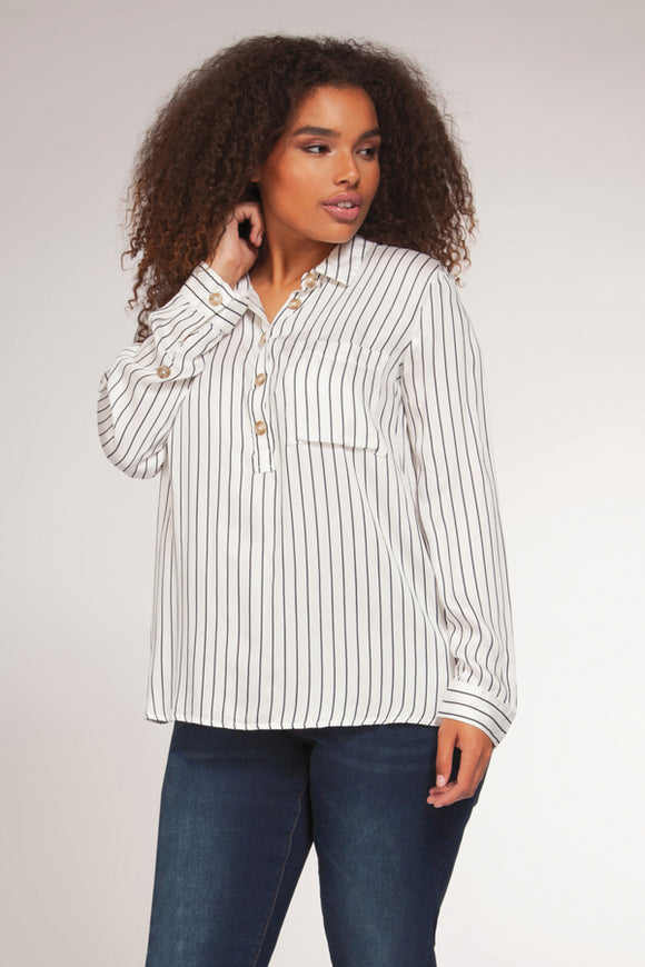 Dex Plus Striped Button Blouse