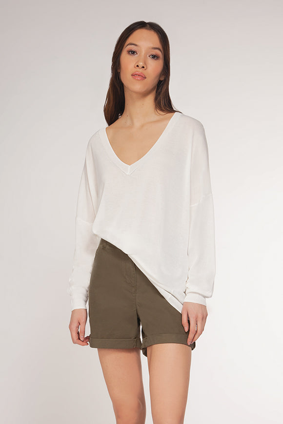 Dex Lightweight V Neck Crepe Sweater