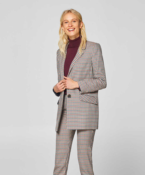 Esprit Color Check Oversized Blazer