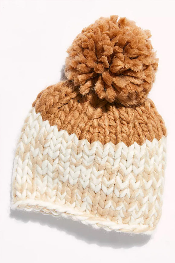 Free People Cozy Up Colour Block Pom Beanie