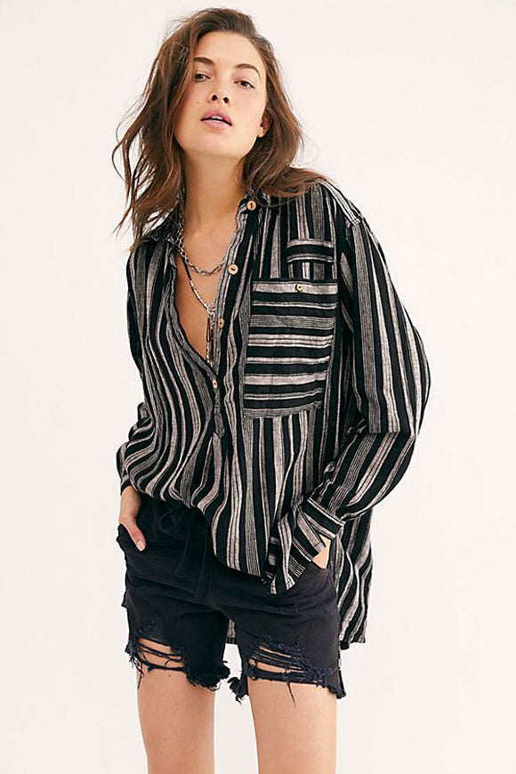 Free People Summer Breeze Stripe Pullover Blouse