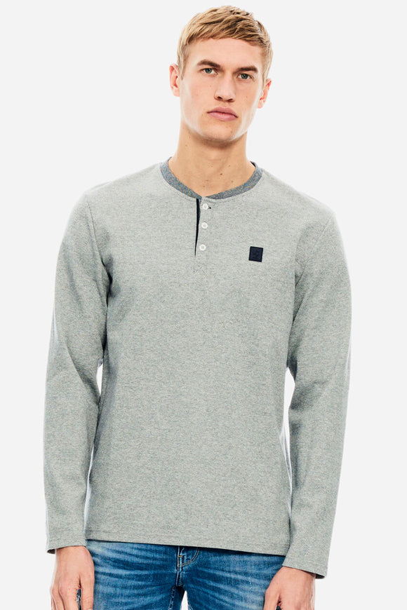 Garcia Grey Henley Long Sleeve
