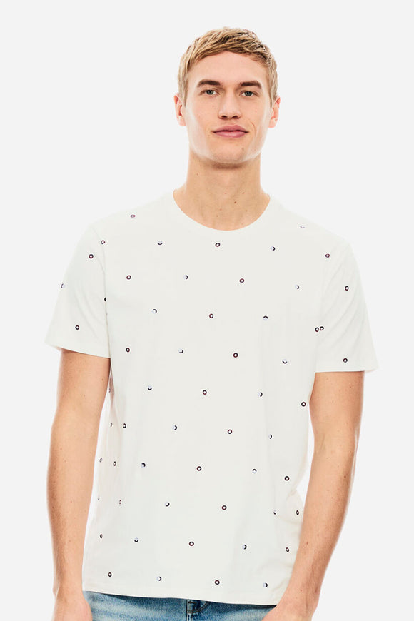 Garcia White Tee with All Over Mini Print