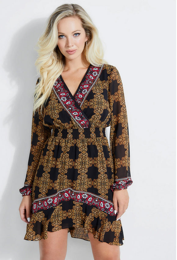 Olena Long-Sleeve Baroque Dress