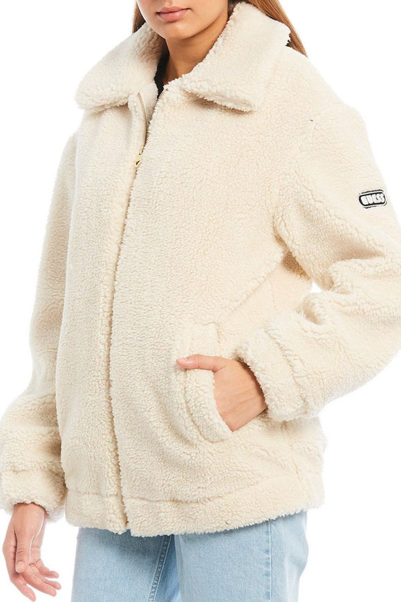 Guess Zip Up Teddy Coat