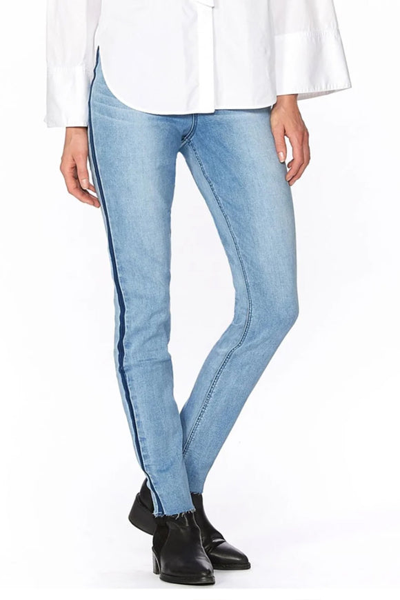 Hue Washed Tuxedo Denim High-Rise Leggings