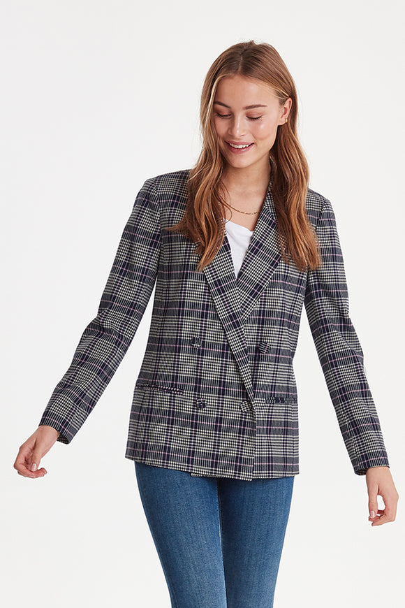 ICHI Double Breasted Plaid Blazer