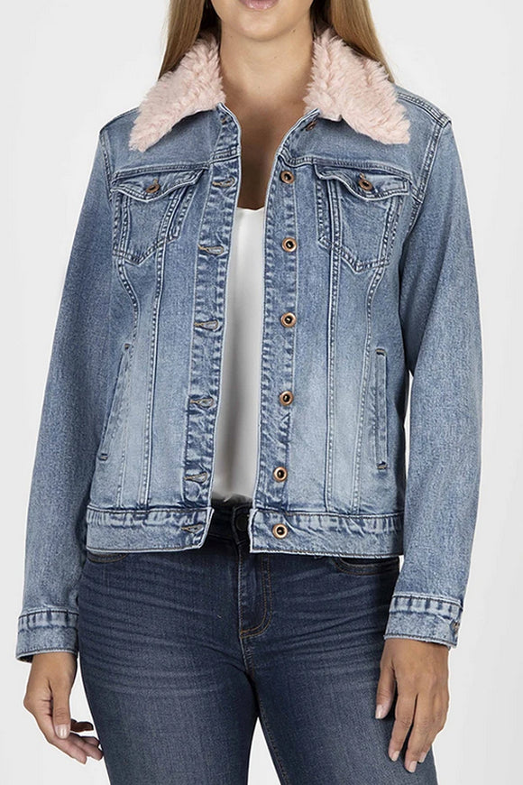 KUT Denim Jacket Pink Faux-Fur Collar