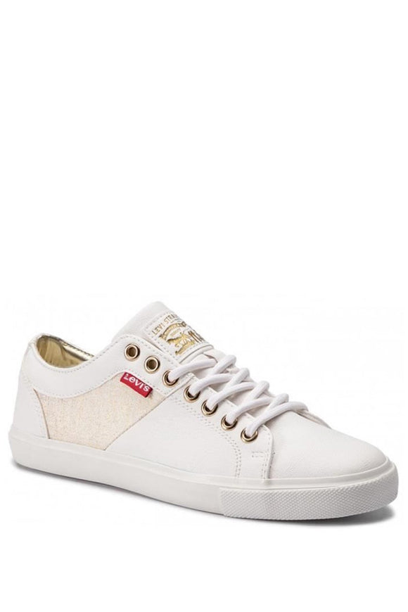 Levi's Woods Sneakers (White with Gold)