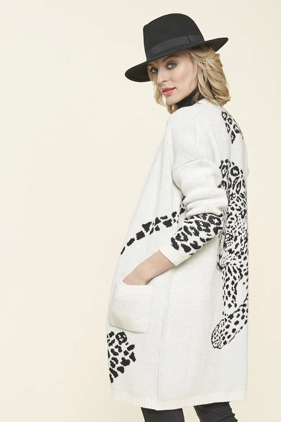 Parkhurst Jaguar Open Front Long Cardigan