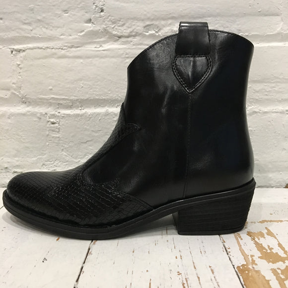 David Tyler Black Western Bootie