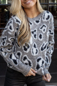 RD Style Grey Leopard Sweater
