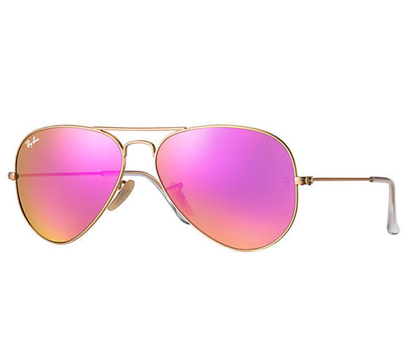 Ray Ban Aviator Flash Matte Gold Pink