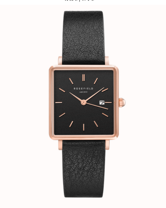Rosefield The Boxy Black and Rose Gold on Black