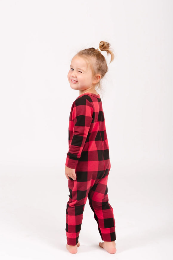 Smash and Tess Mini Present Romper Kid's- Poinsetta Plaid