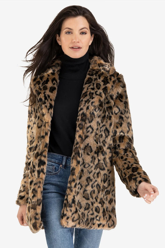 Tribal Faux Fur Leopard Mid Length Coat
