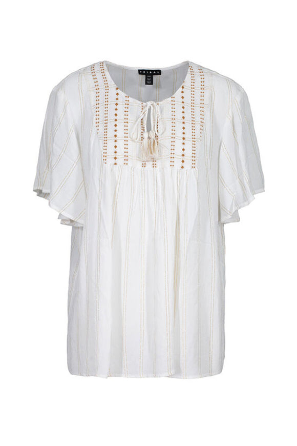 Tribal Flutter Sleeve Peasant Blouse With Tassels