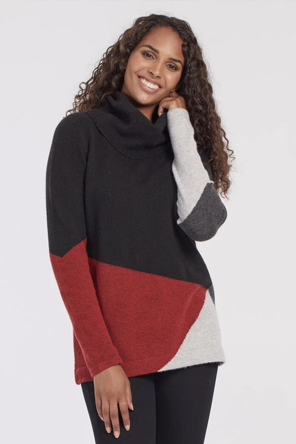 Tribal Long Sleeve Colour Block Sweater