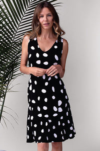 Tribal V-Neck Dot Dress