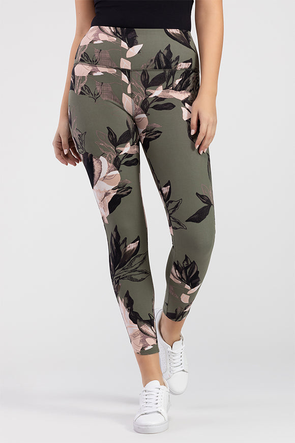 Tribal Khaki Floral Cotton Legging